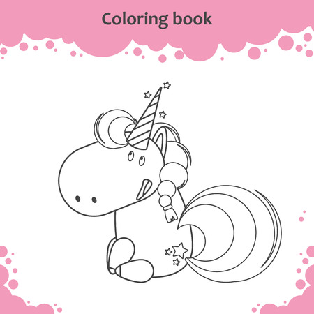 Color the cute cartoon sitting unicorn - coloring page for kids Vector illustration