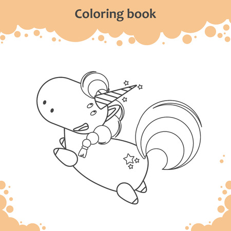 Color the cute cartoon little flying unicorn - coloring book for kids Vector illustration
