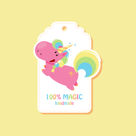 Tag with flying unicorn for handmade items. Vector flat illustration