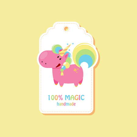 Tag with standing unicorn for handmade items. Vector flat illustration 向量圖像