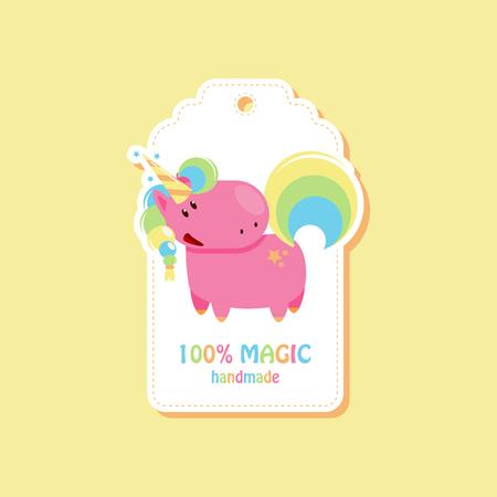 Tag with cute unicorn for handmade items. Vector flat illustration 向量圖像