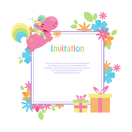 Vector illustrations with flat unicorn. Square frame with simple blue, yellow and pink flowers. Modern invitation for birthday or sales.