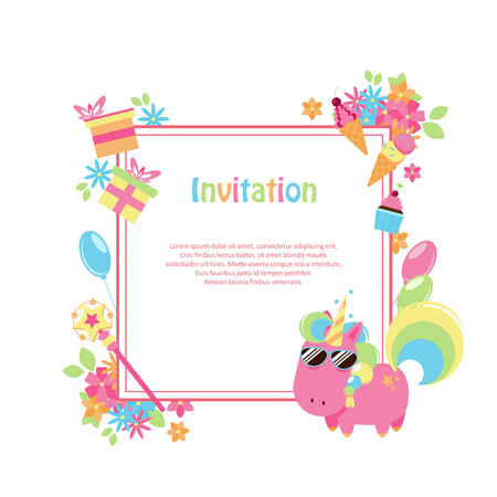 Vector illustrations with flat unicorn. Square frame with simple flowers, balloons, gifts, flowers and cakes. Modern invitation for birthday or sales.