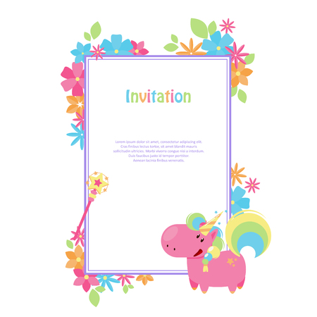 Vector illustrations with flat unicorn. Rectangular frame with simple blue, yellow and pink flowers. Modern invitation for birthday or sales. 向量圖像