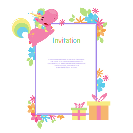 Vector illustrations with flat unicorn. Rectangular frame with simple blue, yellow and pink flowers. Modern invitation for birthday or sales. Illustration