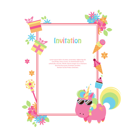 Vector illustrations with flat unicorn. Rectangular frame with simple flowers, balloons, gifts, flowers and cakes. Modern invitation for birthday or sales.
