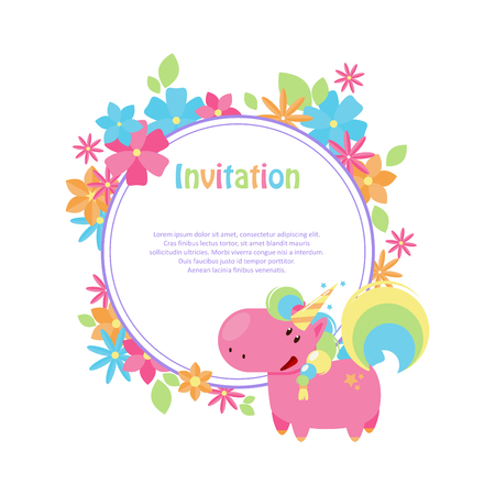 Vector illustrations with flat unicorn. Round frame with simple blue, yellow and pink flowers. Modern invitation for birthday or sales.