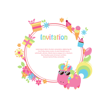 Vector illustrations with flat unicorn. Round Frame of simple flowers. Balloons, gifts, flowers and cakes. Modern invitation for birthday or sales.