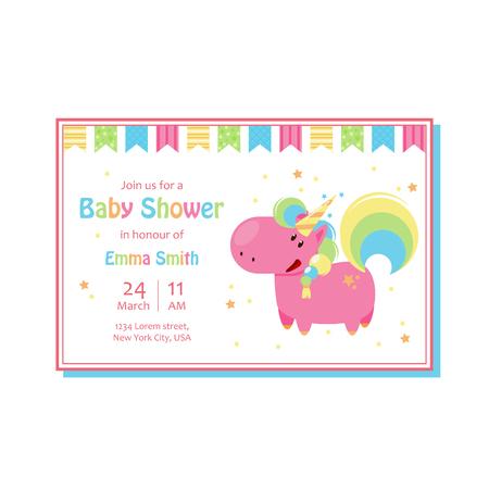 Beautiful baby shower card template with cute unicorn. Vector cartoon illustration for birthday invitation 向量圖像