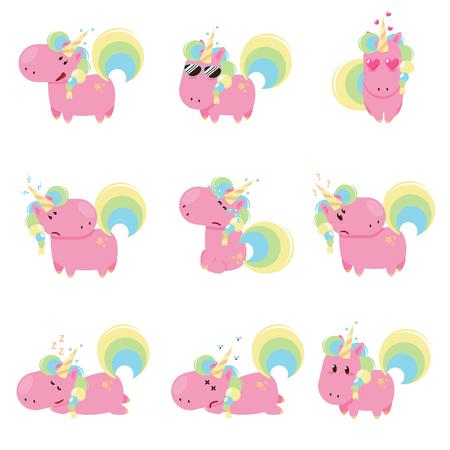 Vector set of unicorns with different emoticons. Flat design illustration