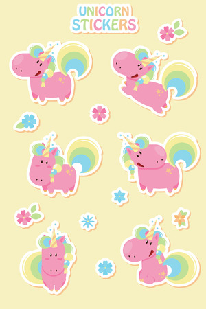 Collection cartoon unicorn stickers. Unicorns made in flat design style