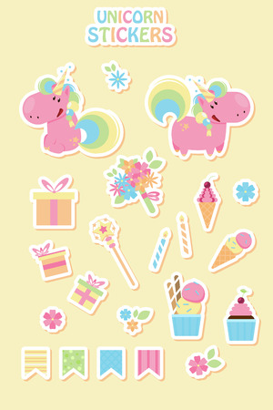 Collection cartoon unicorn stickers for birthday party. Flat design style 向量圖像