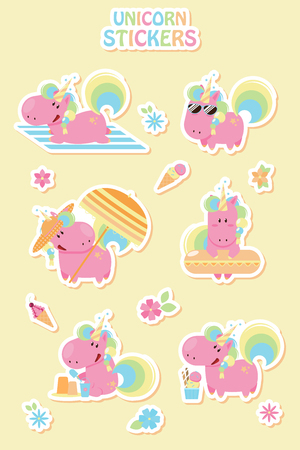 Collection cartoon summer unicorn stickers. Flat design style 向量圖像