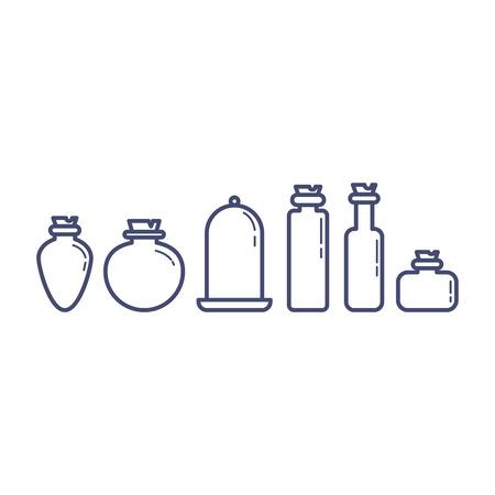 Set of different cartoon potion bottles vector illustration 向量圖像