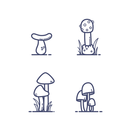 Flat outline mushrooms with grass vector illustration 向量圖像