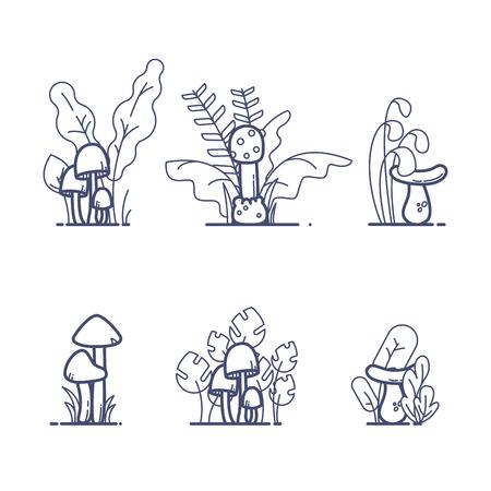 Flat outline mushrooms with grass Vector llustration 向量圖像