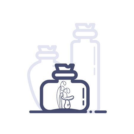 A wide but small bottle with mushrooms and grass on shelf vector illustration