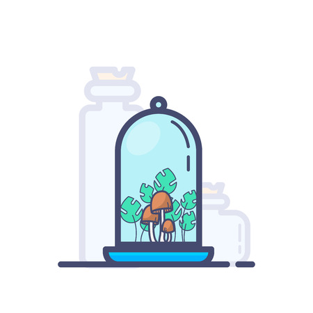A colored bottle with mushrooms and grass on shelf vector illustration