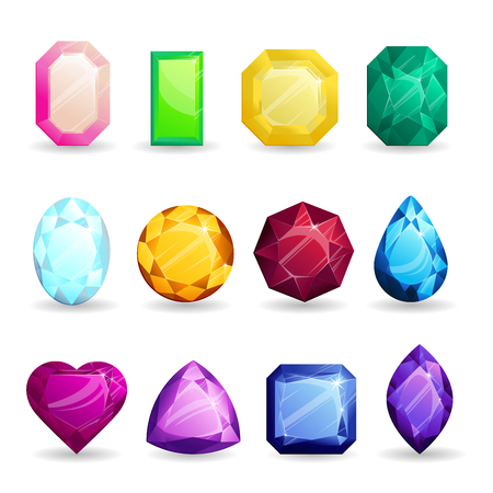 Isolated colorful gemstones of different types set. Ruby, emerald, sapphire and other jewelry. For jewelery design. Stock Illustratie