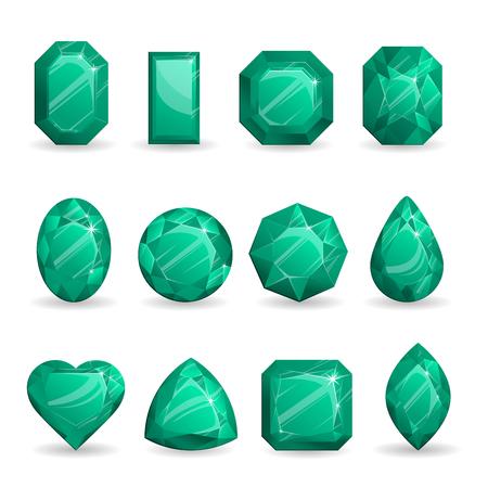 Conjunto de joyas realistas de color verde oscuro. Piedras preciosas de colores. Jade verde aislado sobre fondo blanco.