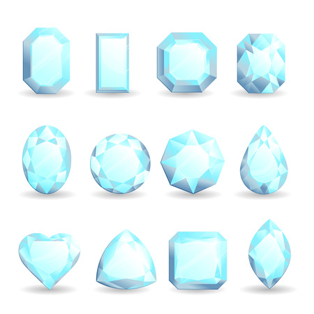 Set of realistic bright gemstones. Diamond of different forms isolated on white background. 向量圖像