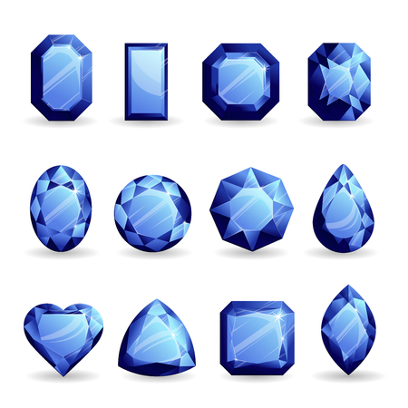 Set of realistic navy blue gemstones. Sapphire of different forms isolated on white background.