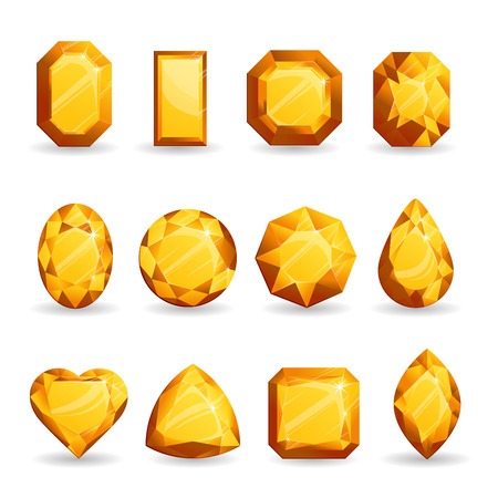 Set of realistic orange gemstones. Citrine stone of different forms isolated on white background.