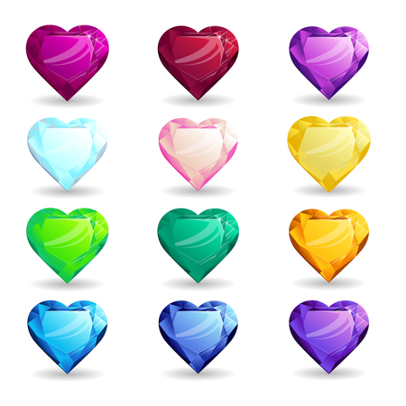 Collection isolated realistic heart-shaped gemstones different types. Jewelry for mobile games or design
