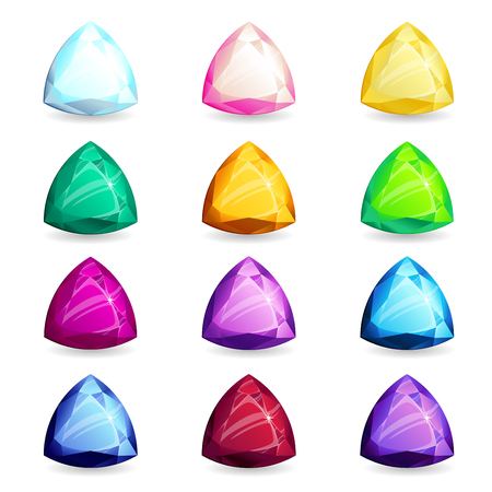 A collection of isolated realistic triangle-shape of precious stones of different types. Jewelry for mobile games or design 向量圖像