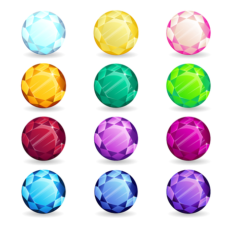Isolated colorful gemstones of round shape set. Vector illustration for jewelry design. 向量圖像