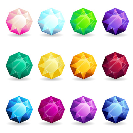 Isolated colorful gemstones of octagon shape set. Vector illustration for jewelry design.