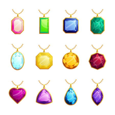 Jewelry pendants set with diamond, ruby, emerald, topaz. Golden chains with gemstones. Precious necklaces for jewelry shop design. Vector illustration. 向量圖像