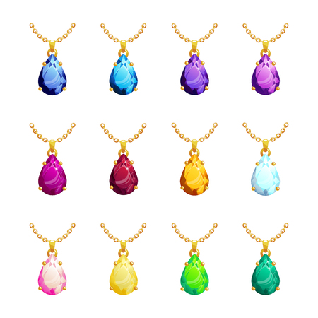 Jewelry pendants pears form set with diamond, ruby, emerald, topaz. Golden chains with gemstones. Precious necklaces for jewelry shop design. Vector illustration.
