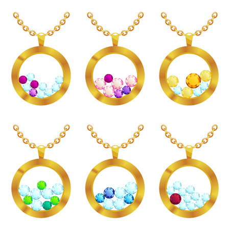 Jewelry pendants round form with gold and gemstones Precious necklaces for jewelry shop design. Vector illustration.