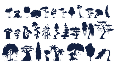 Set of silhouettes of trees, bushes and grass 向量圖像