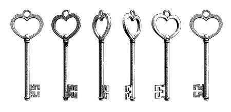 Sketch of a key in the shape of a vintage heart shape from different angles.