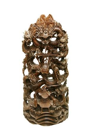tallado en madera: Drag�n de tallado Foto de archivo
