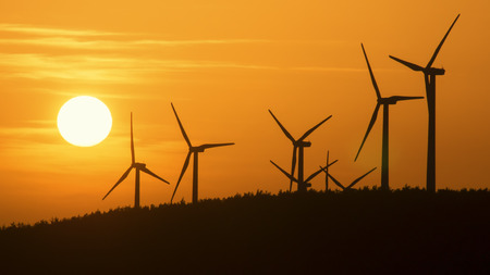 Windfarm at sunset Stok Fotoğraf - 96139001