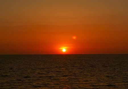 Rising sun over the sea in the morning