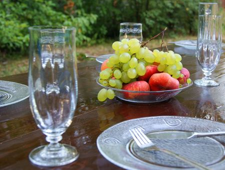 The served table with fruits after rain