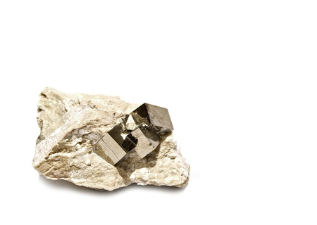 Perfect Pyrite Cube Crystals in Natural Host Rock from Victoria Mine, Navajun, La ja, Spain Stock Photo - 18819231