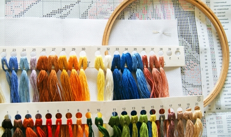 thread count: The embroidery hoop with canvas and bright sewing threads and a scheme