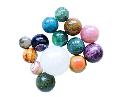 Several natural mineral stone polished sphere balls
