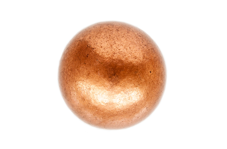 Rounded metal ball made of melted copper isolated on white background Stock Photo