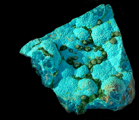 Unusually fine combination of blue botryoidal chrysocolla with smaller balls of sparkly malachite from Congo