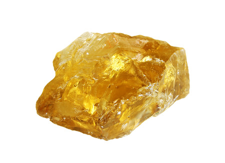 Transparent rough yellow quartz citrine isolated on white background
