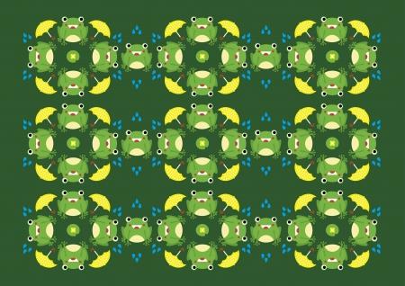 tadpole: Print Pattern - Frog in Rainy Day 1 Illustration
