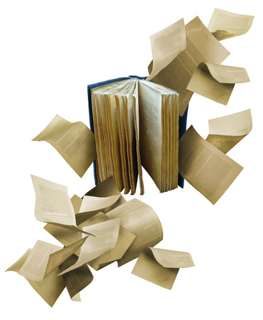 Open book with scattered flying pages Stockfoto