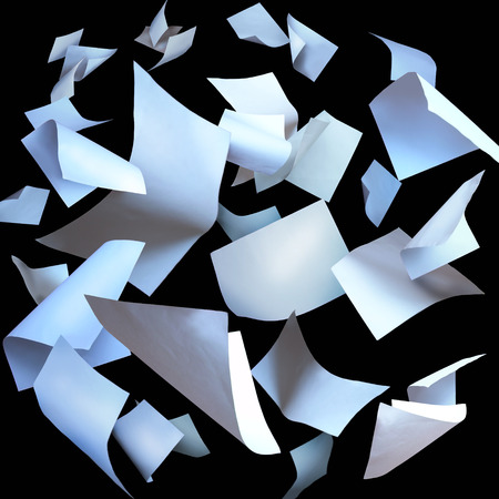 Flying paper sheets flying pages