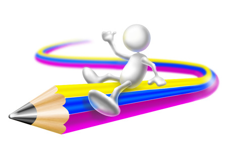 ingenuity: Man flying upon a pencil Stock Photo